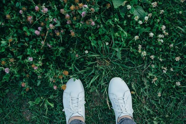 As pernas de uma linda garota com sapatos brancos estão paradas na grama alta e verde