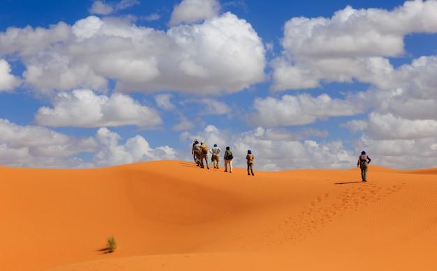 As pessoas andam do deserto do saara