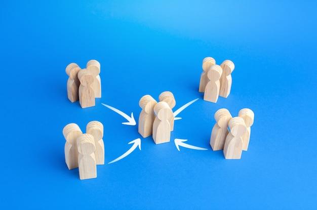 As pessoas se reúnem em um grupo maior, a consolidação de esforços e o crescimento da cooperação numérica