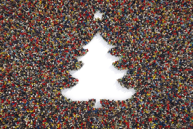 As pessoas tomam a forma de uma árvore de natal.