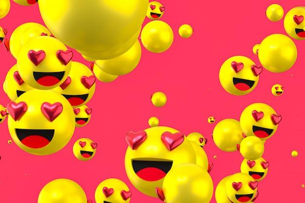As reações do facebook amam emoji 3d render em fundo claro, símbolo de balão de mídia social com como