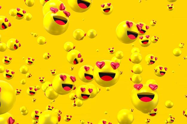 As reações do facebook amam emoji 3d render em fundo transparente