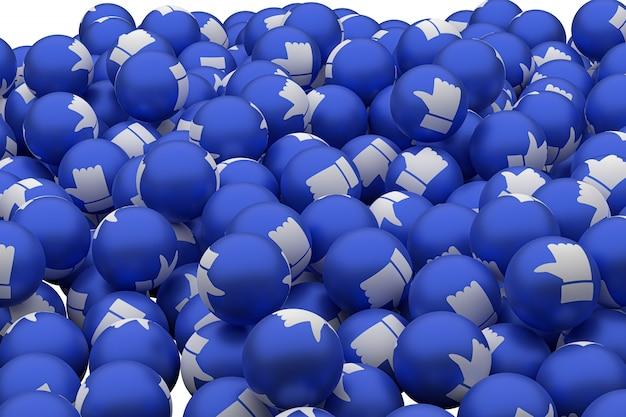 As reações do facebook como emoji 3d render em fundo transparente