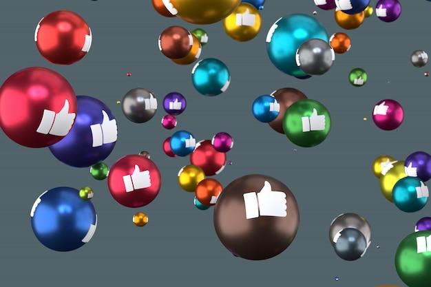As reações do facebook como emoji renderização em 3d, símbolo de balão de mídia social com