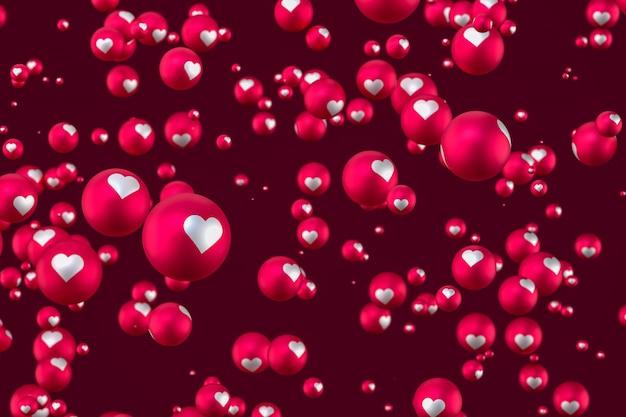 As reações do facebook coração emoji 3d render em fundo vermelho, símbolo de balão de mídia social com coração