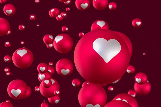 As reações do facebook coração emoji 3d render em fundo vermelho
