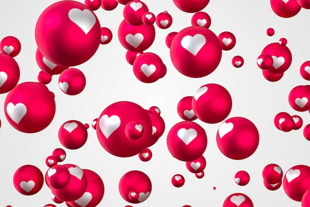 As reações do facebook coração emoji 3d render, símbolo de balão de mídia social com coração