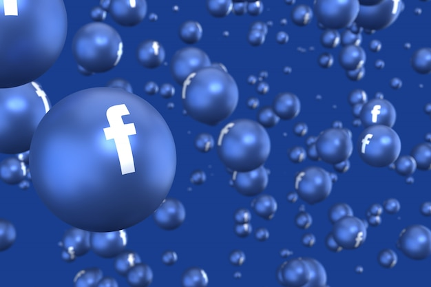 As reações do facebook emoji 3d render, símbolo de balão de mídia social com ícones do facebook