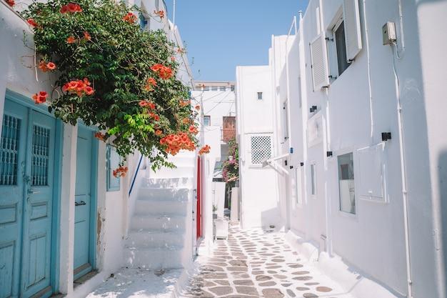 As ruas estreitas da ilha com varandas azuis, escadas e flores.
