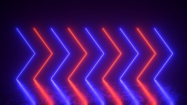 As setas de neon brilhantes piscam e acendem indicando a direção. abstrato, show de laser. as tendências de cores de néon fantasma espectro de luz azul e lava exuberante. ilustração 3d