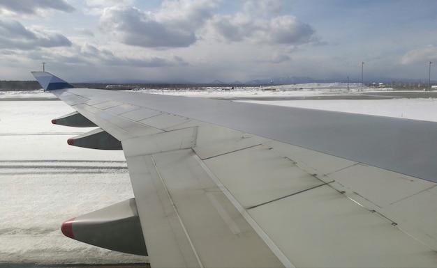 Asa de avião com vista para a neve