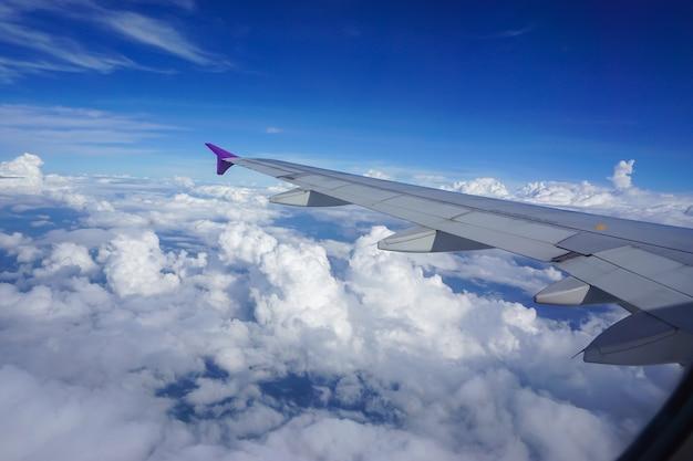 Asa de avião contra bluesky de suas janelas