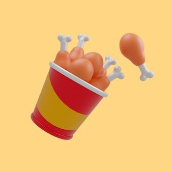 Asa de frango 3d na ilustração do ícone dos desenhos animados do balde. conceito de ícone de objeto de comida 3d design premium isolado. estilo flat cartoon