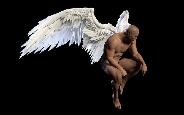 Asas de anjo de ilustração 3d, asa branca plumagem isolada no fundo preto com recorte