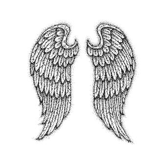 Asas de anjo dotwork. ilustração de raster de design de t-shirt de estilo boho. tatuagem esboço desenhado à mão.