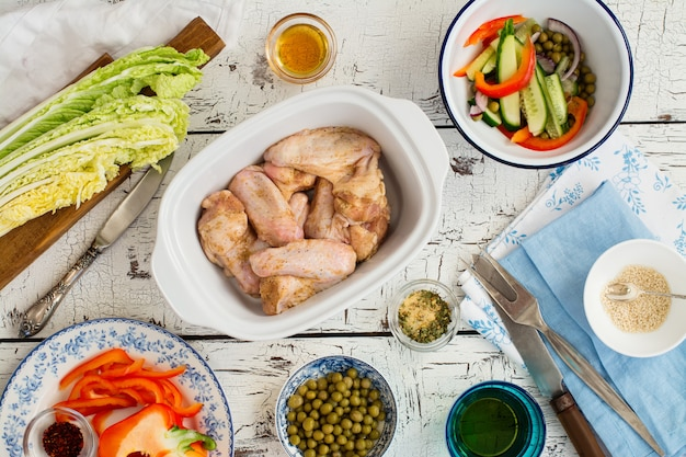 Asas de frango prontas para assar
