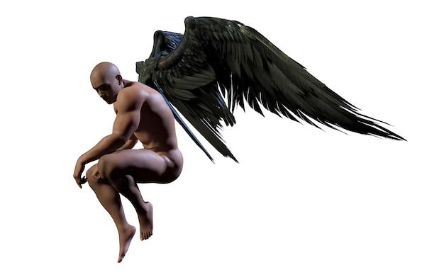 Asas do demônio da ilustração 3d, plumagem preta da asa isolada no fundo branco com grampeamento