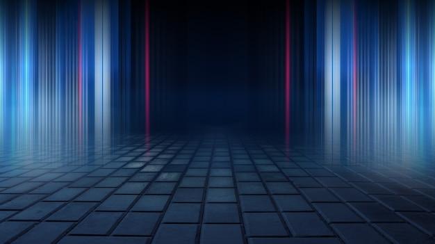 Asfalto escuro asfalto úmido reflexões de raios na água resumo fundo azul escuro fumaça fumaça cena escura vazia holofotes de luz de néon piso de concreto