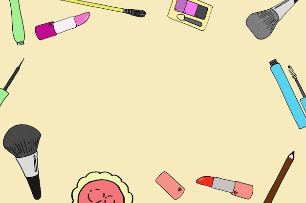 Ashion cosméticos fundo quadrado com maquiagem objetos do artista. modelos de ilustrações desenhadas à mão compensam com lugar para texto