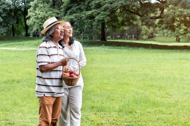 Asiático maduro romântico dos pares com felicidade do estilo de vida da cesta de fruta no parque.