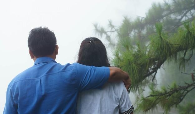 Asiático, par velho, abraçando, com, árvore pinho