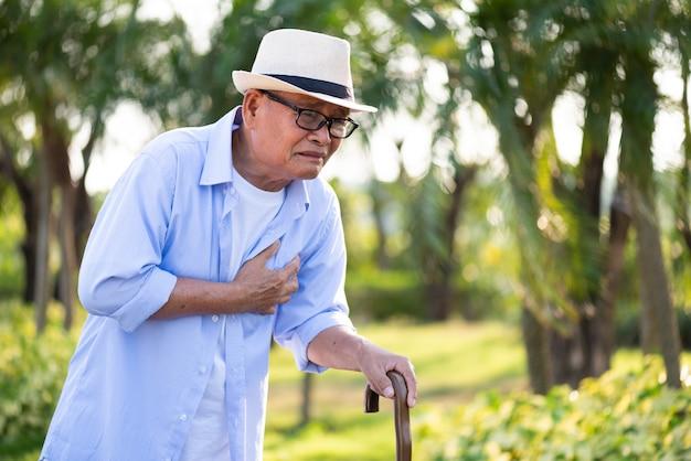 Asiático velho andando no parque e tendo um com dor no coração