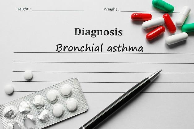 Asma brônquica na lista de diagnóstico, conceito médico