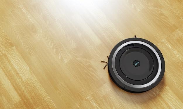 Aspirador de pó robô preto feito de laminado