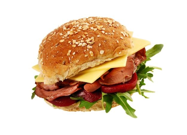 Assado, carne, queijo, pão, sanduíche