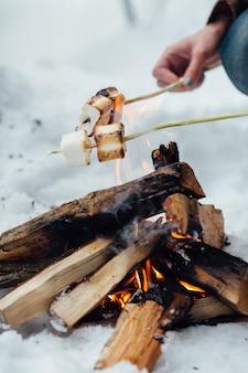Assar marshmallows sobre uma fogueira. fechar-se