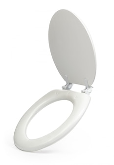 Assento sanitário branco isolado no fundo branco