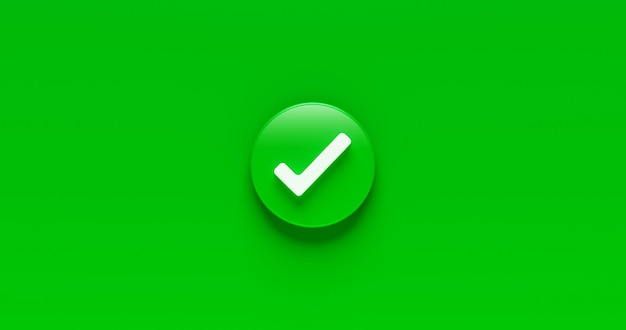 Assinale o botão de ícone de marca de verificação e sim ou o símbolo aprovado para confirmar o fundo da lista de verificação do sinal correto com a caixa de sucesso do acordo. renderização 3d.