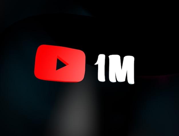 Assinantes do youtube 1m youtube 1m escrito em 3d com o logotipo do youtube