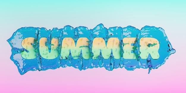 Assine com a palavra verão e respingos de água atrás dela com fundo gradiente em cor pastel