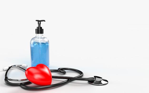 Assistência médica e estetoscópio com um gel desinfetante para as mãos e coração vermelho para proteger a higiene das mãos, espalhar bactérias germes e evitar infecções vírus corona covid-19
