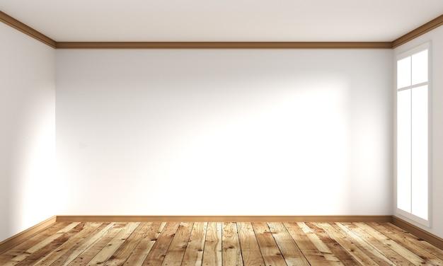 Assoalho de madeira estilo japonês - interior do quarto vazio. renderização 3d
