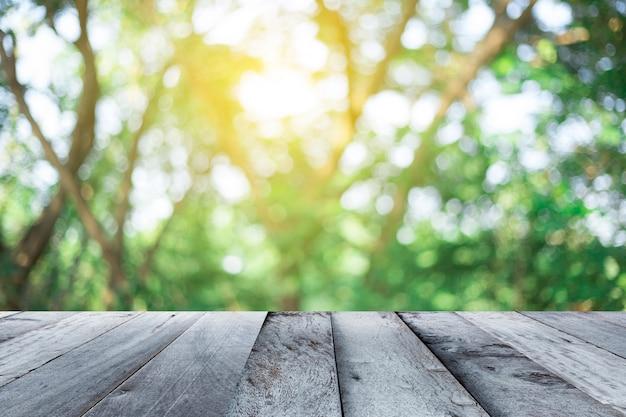 Assoalho de madeira vazio com fundo de lanscape borrado