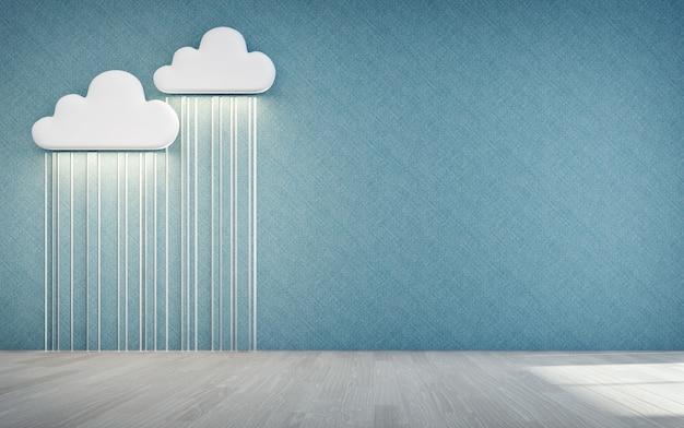 Assoalho de madeira vazio da sala das crianças com ícone branco da nuvem e da chuva.