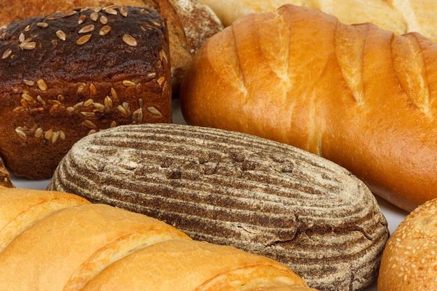 Assorted do pão fresco ou do fim acima. produtos de farinha