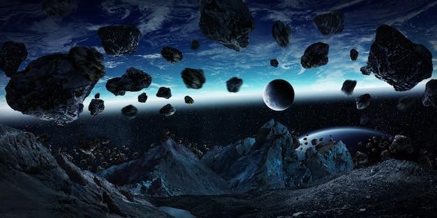 Asteroides gigantescos prestes a quebrar a renderização 3d da terra