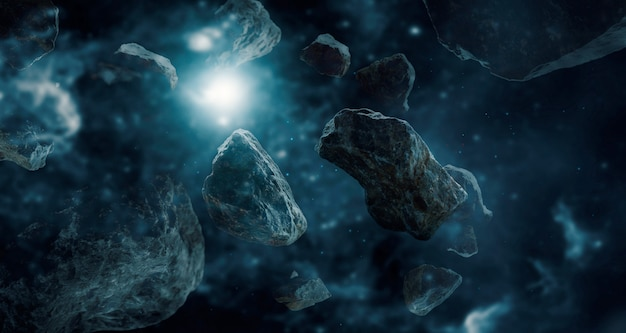Asteróides no sistema solar.