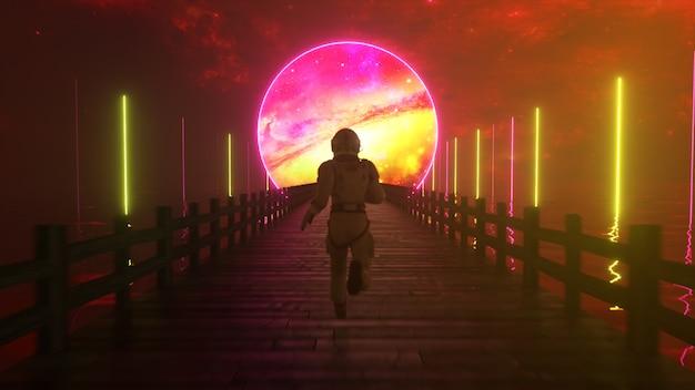Astranaut corre ao longo da interminável ponte de madeira