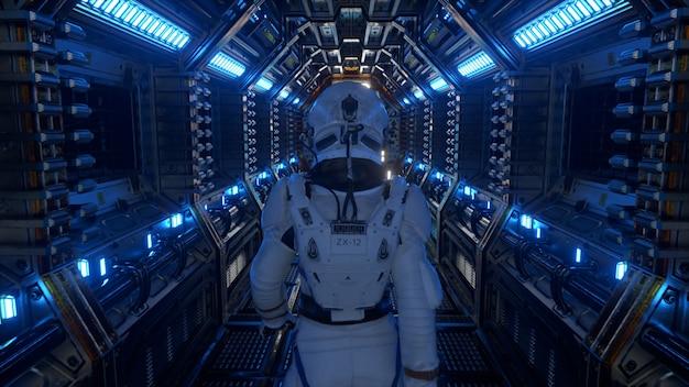 Astronauta caminhando no túnel da nave espacial, corredor do ônibus espacial de ficção científica. tecnologia abstrata futurista. tecnologia e conceito futuro. luz piscante. ilustração 3d