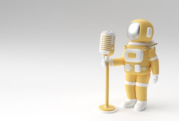 Astronauta cantando em um microfone vintage 3d render design.