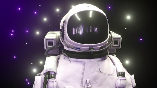 Astronauta cercado por luzes de néon piscando. conceito de música e boate.
