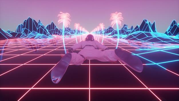 Astronauta cercado por luzes de néon piscando. renderização 3d.
