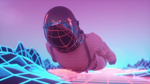 Astronauta cercado por luzes de néon piscando