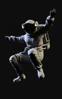 Astronauta de renderização 3d em fundo preto