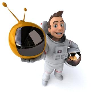 Astronauta divertido com tv retrô
