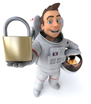 Astronauta divertido - ilustração 3d